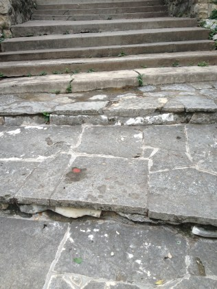 Steps before a stone feature at Laguna Gloria (detail)