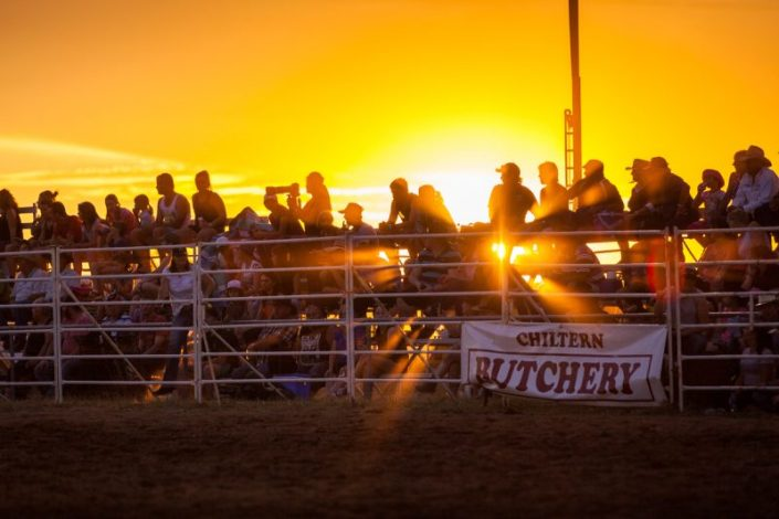 Chiltern Pro Rodeo crowd watching rodeo at chiltern at sunset