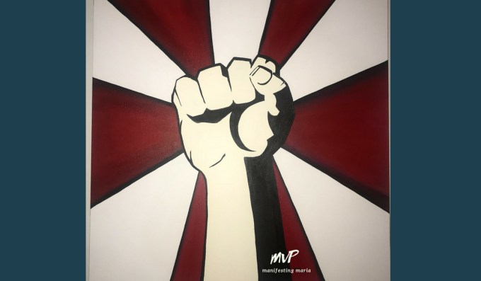 Solidarity Fist - 3'x3' painting by Maria@ManifestingMaria, check out my Etsy store by clicking on the image