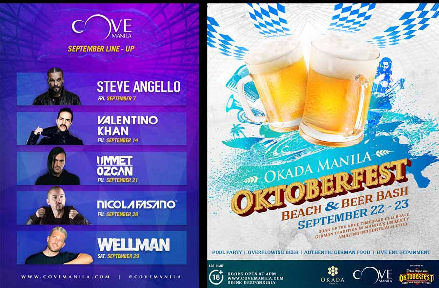 International DJ lineup for Cove Manila's September 2018 Party Season with Oktoberfest