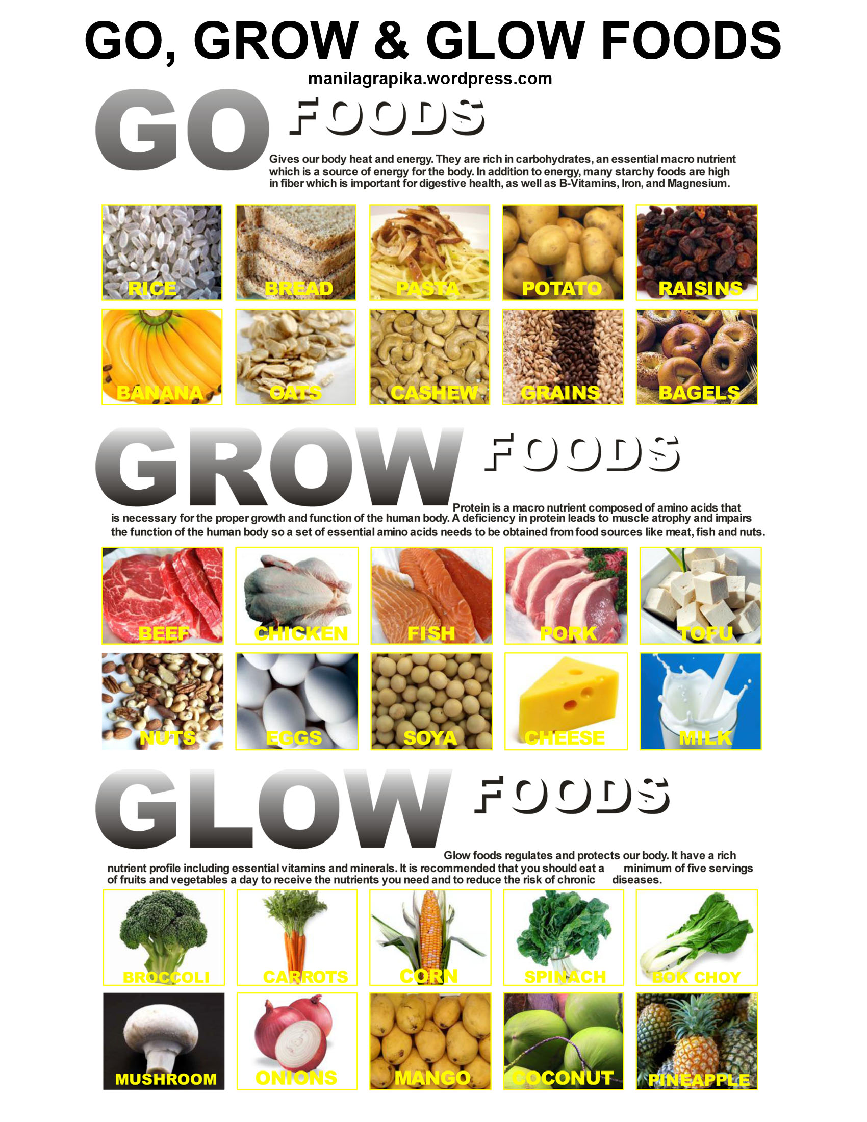 Go Foods Examples List