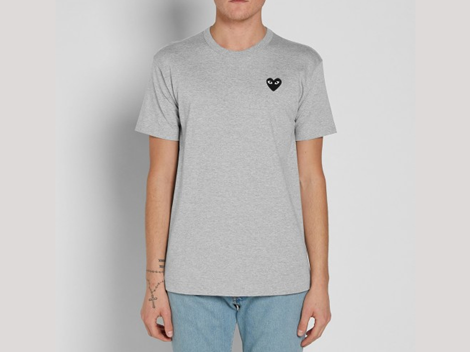 Commes des Garcon PLAY Grey Melange T-Shirt | Image Courtesy of End Clothing