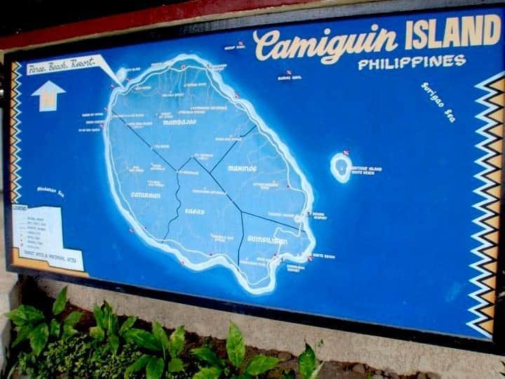 Camiguin island map of the area. maninio.com #tourismphilippines #visitcamiguin