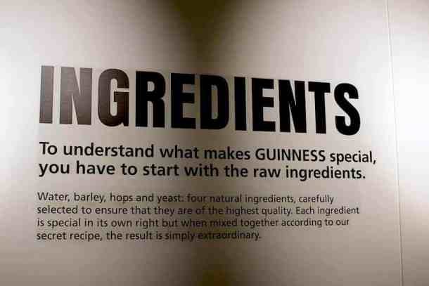 Guinness Experience ingredients. maninio.com #guinnessexperience #guinnessireland