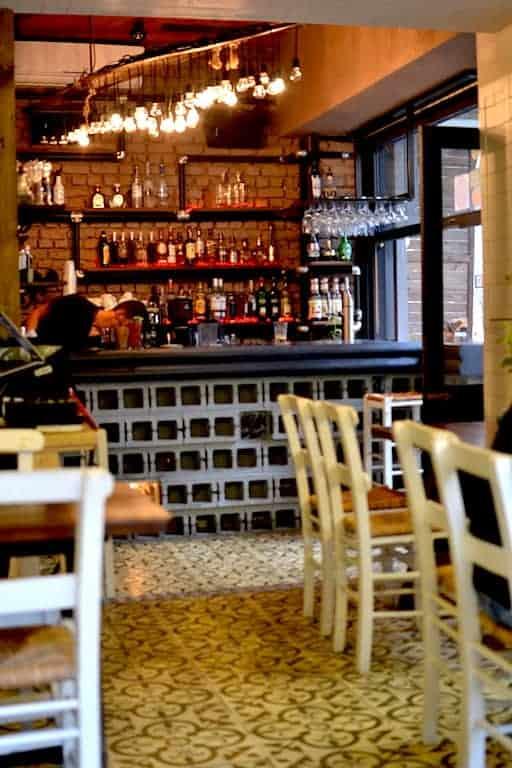 Vegan restaurant interior at Roots, Thessaloniki. maninio.com #veganfoodingreece #greekvegan