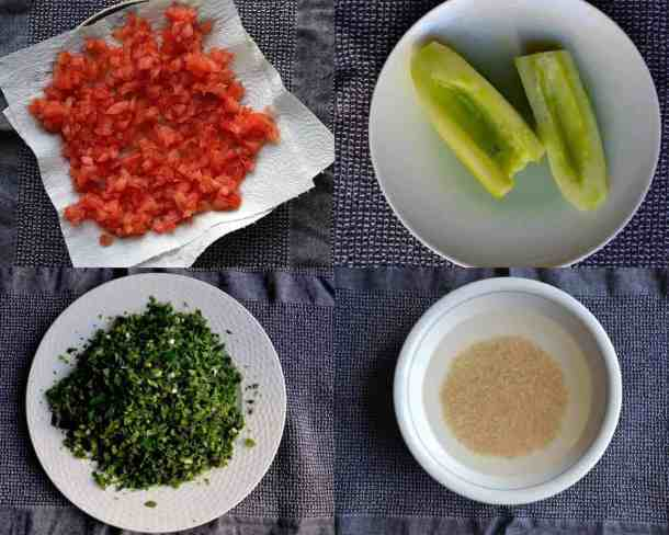 Chop all the Ingredients for Lebanese Tabbouleh, Vegan. maninio.com
