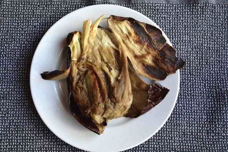 Peal the eggplant for the original Arabic Moutabal (Baba Ganoush) - Vegan. maninio