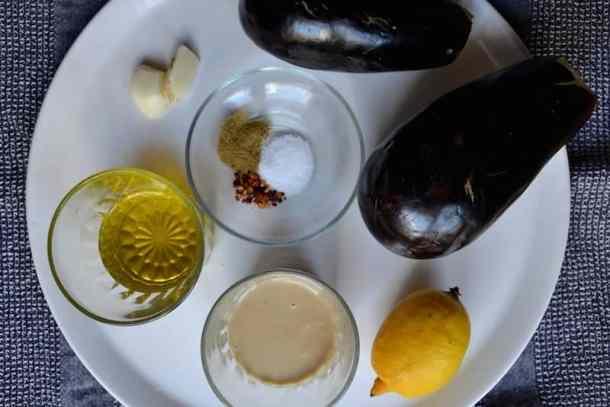 Ingredients for Arabic Moutabal (Baba Ganoush) | Middle East - Vegan. maninio.com