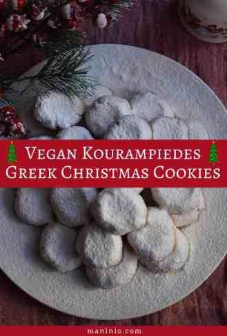 Vegan Κουραμπιέδες ψημένοι με Ζάχαρη Καρύδας | Με λίγες Θερμίδες. maninio.com #christmascookies #vegankourampiedes