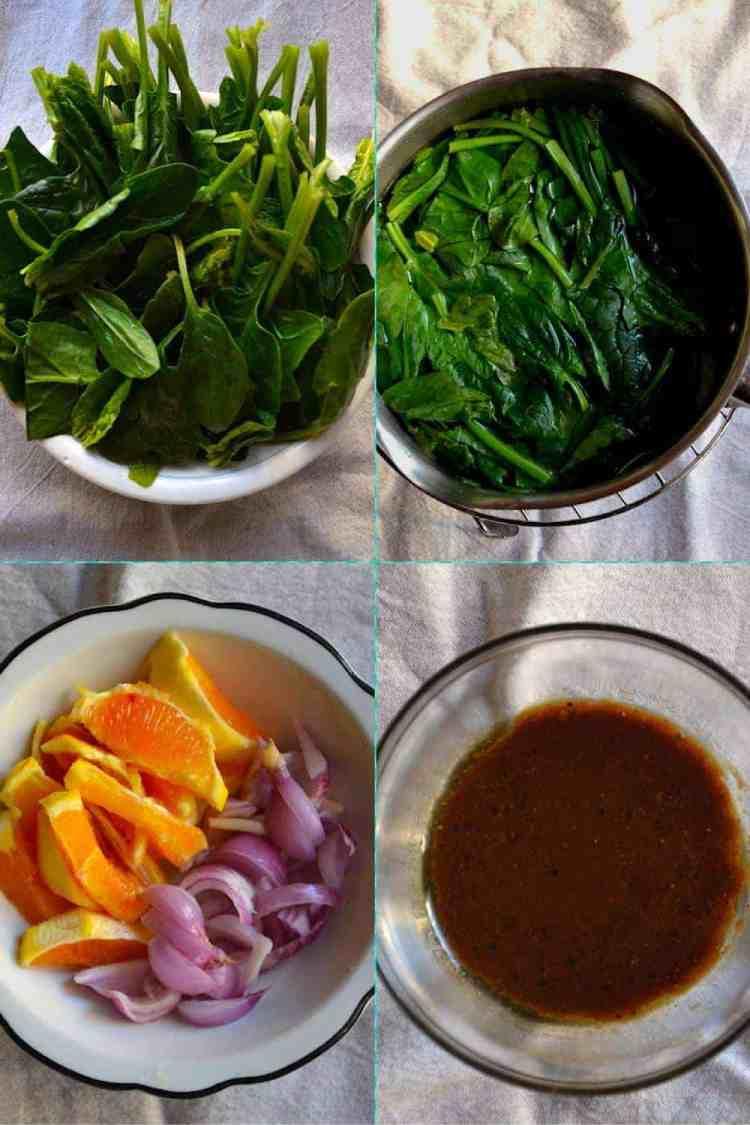 Υλικά για την Σαλάτα με Σπανάκι και Πορτοκάλι | Vegan & Χωρίς Γλουτένη. maninio.com