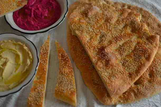 Original hummus and Beets hummus with Greek Lagana bread with star anise (Clean Monday) | Vegan