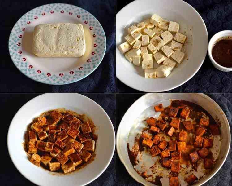 Tofu Preparation- Baked Tofu with Vegetable rice and Basil. maninio.com