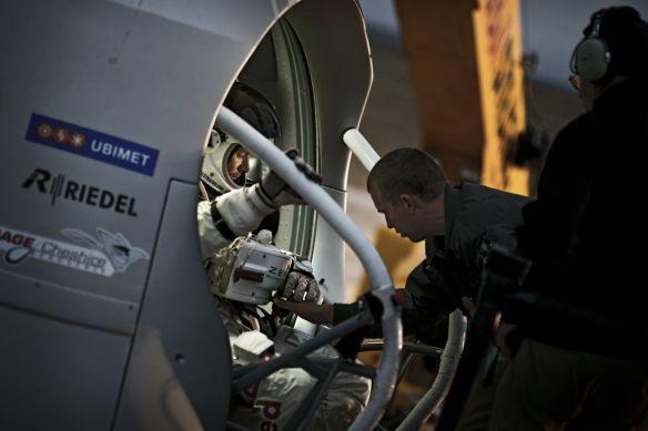 Felix Baumgartner sits in his capsule