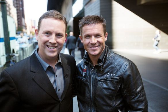 Felix Baumgartner of Austria poses for a photograph with Brian Todd (CNN) of the United States in New York City, NY on October 22, 2012 // Brian Nevins/Red Bull Content Pool