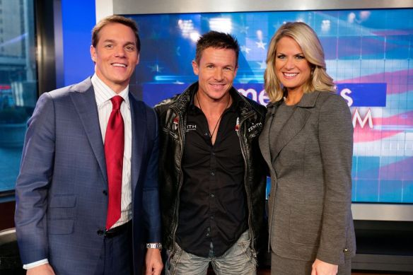 Felix Baumgartner on set with Bill Hemmer and Martha MacCallum of Americas Newsroom in New York City, NY on October 22, 2012 // Brian Nevins/Red Bull Content Pool