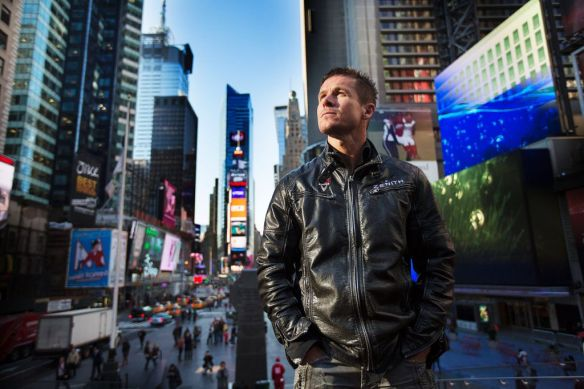 Felix Baumgartner of Austria poses for a portrait at Times Square in New York City, NY on October 22, 2012 // Brian Nevins / Red Bull Content Pool