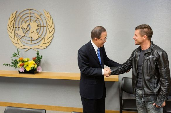 Felix Baumgartner meets United Nations Secretary General Ban Ki-Moon at the United Nations in New York City, NY on October 23, 2012 // Brian Nevins/Red Bull Content Pool