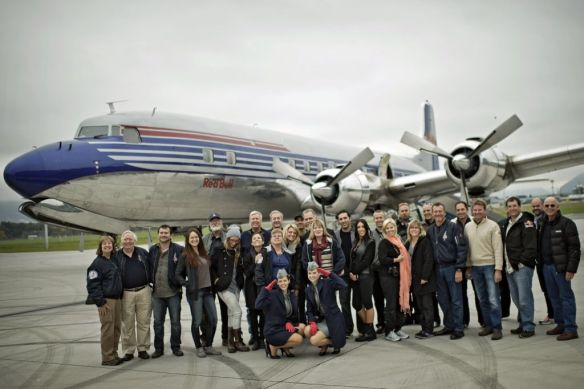 The Red Bull Stratos Team of the United States poses for a photograph in front of the historic DC-6 Airplane in Salzburg, Austria on October 25, 2012. // Jörg Mitter/Red Bull Content Pool