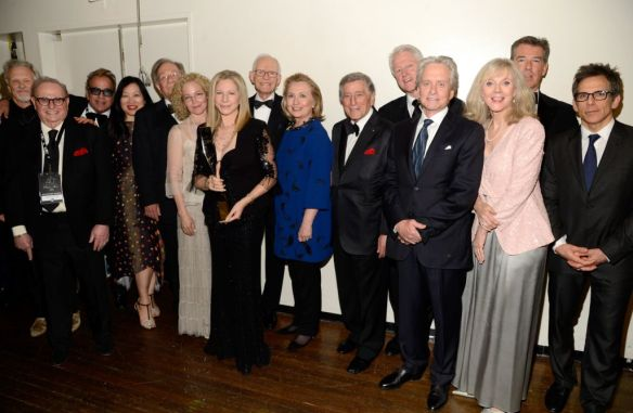Kris Kristofferson, Marty Erlichman, Richard Jay-Alexander, Kenneth Bowser, Amy Irving, Barbra Streisand, Alan Bergman, Marilyn Bergman, Former US Secretary of State Hillary Clinton, Tony Bennett, Former US President Bill Clinton, Michael Douglas, Blythe Danner, Pierce Brosnan and Ben Stiller attend the 40th Anniversary Chaplin Award Gala at Avery Fisher Hall at Lincoln Center for the Performing Arts on April 22, 2013 in New York City.  (Photo by Kevin Mazur/WireImage)