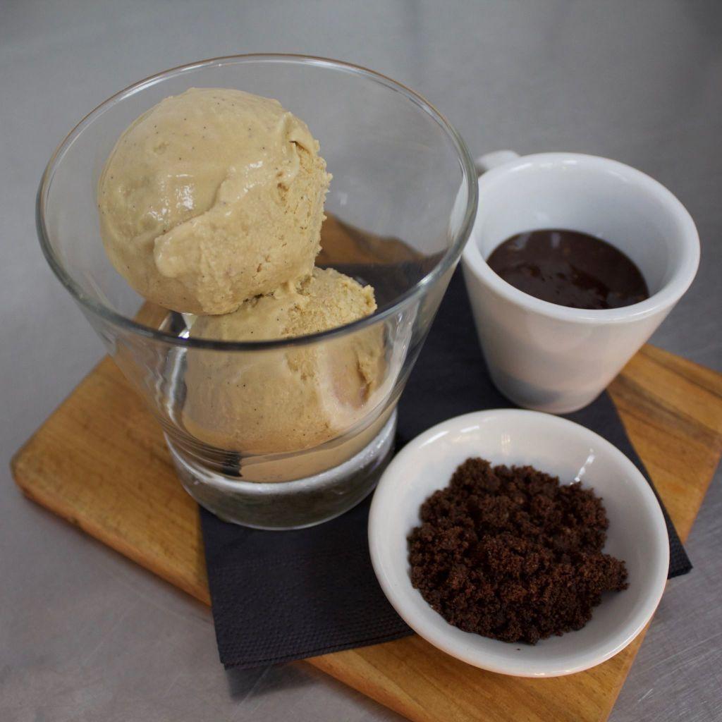 Pearl barley and malt ice cream, chocolate soil, date fudge sauce