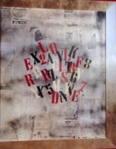 Quadro a collage con manifesti film, scritte e foto d'epoca di Aldo