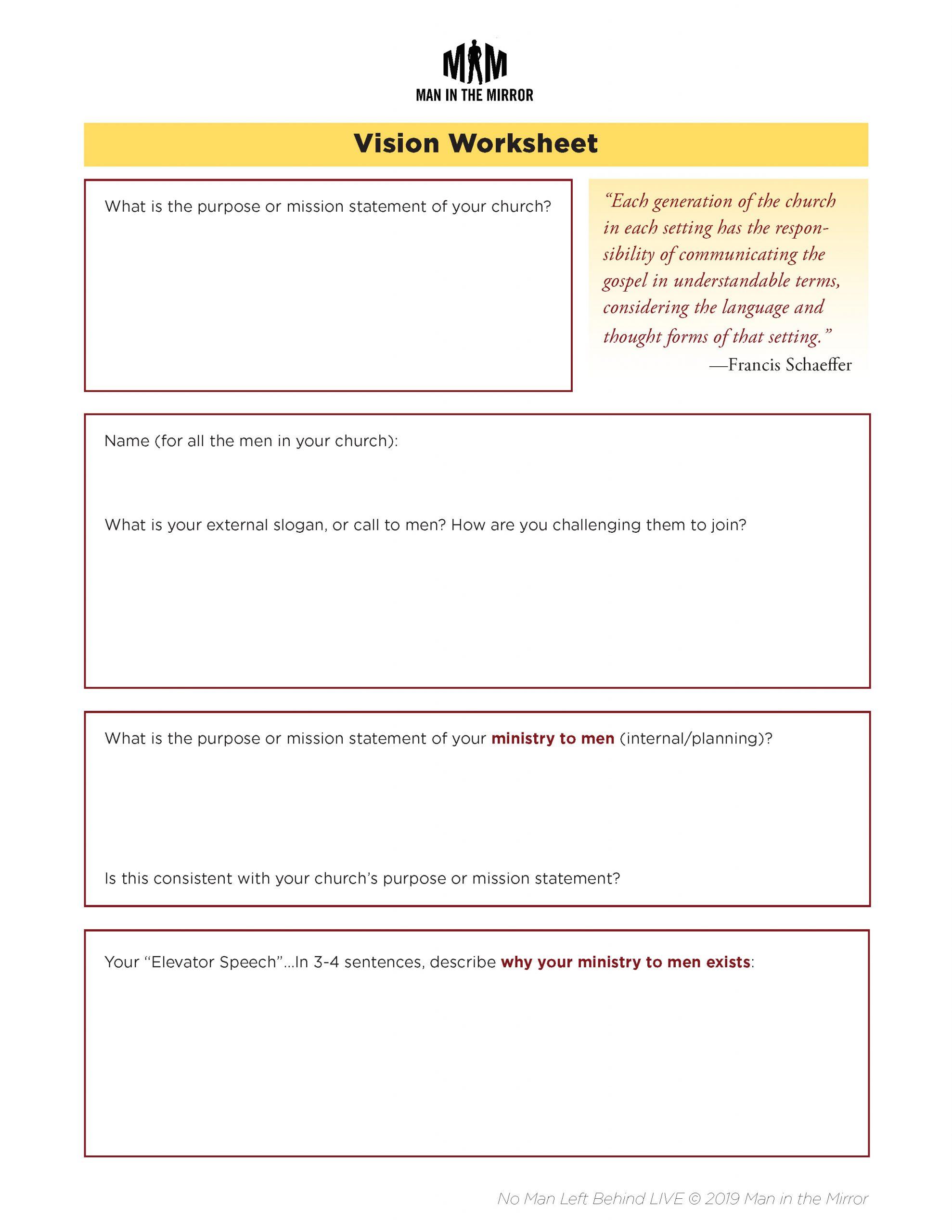 Vision Worksheet