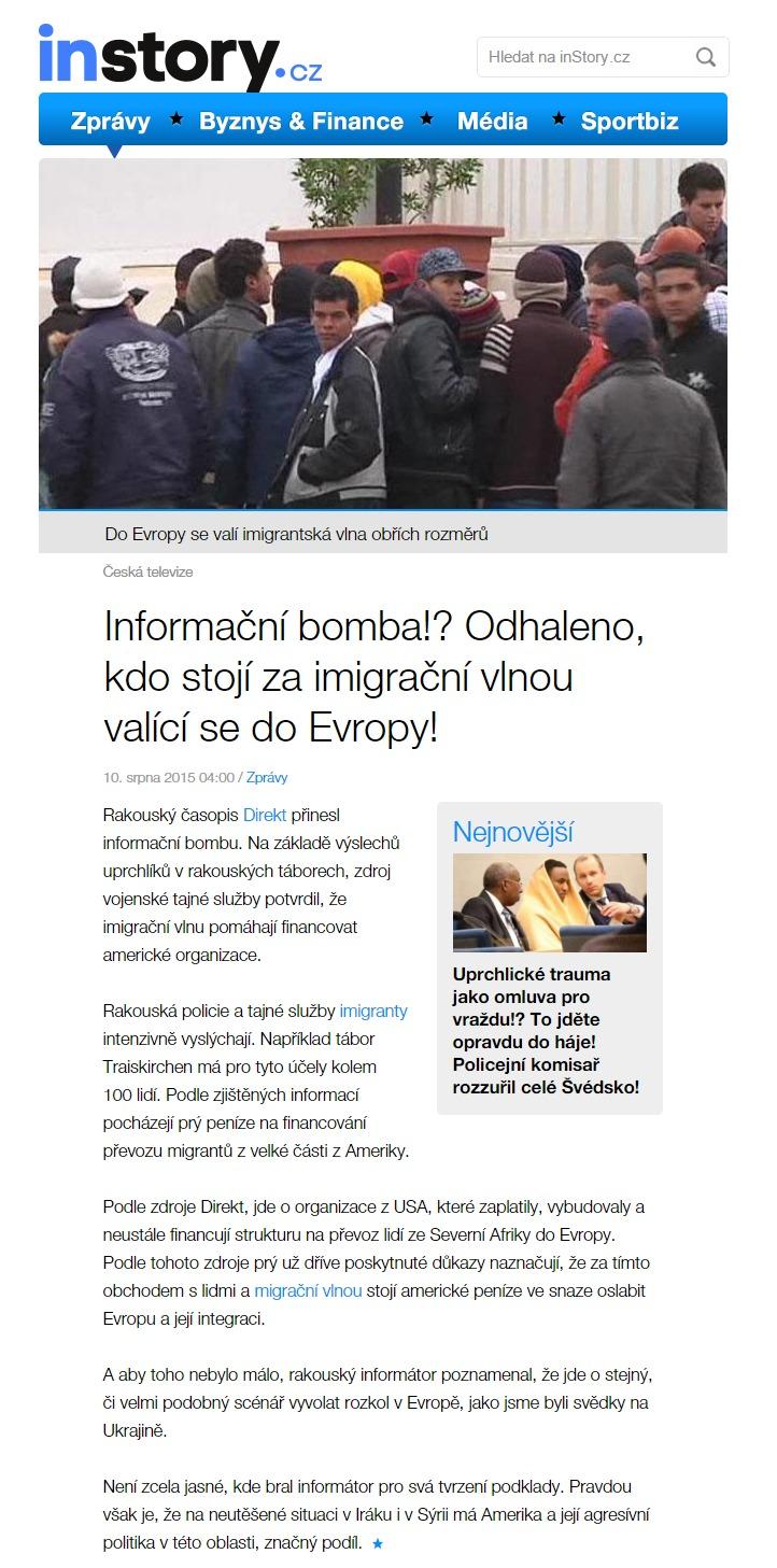 Informační bomba Odhaleno kdo stojí za imigrační vlnou valící se do Evropy • inStory.cz