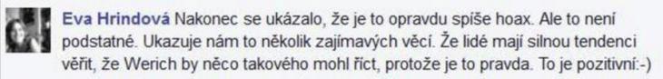 Vyjádření Evy Hrindové (facebook.com)