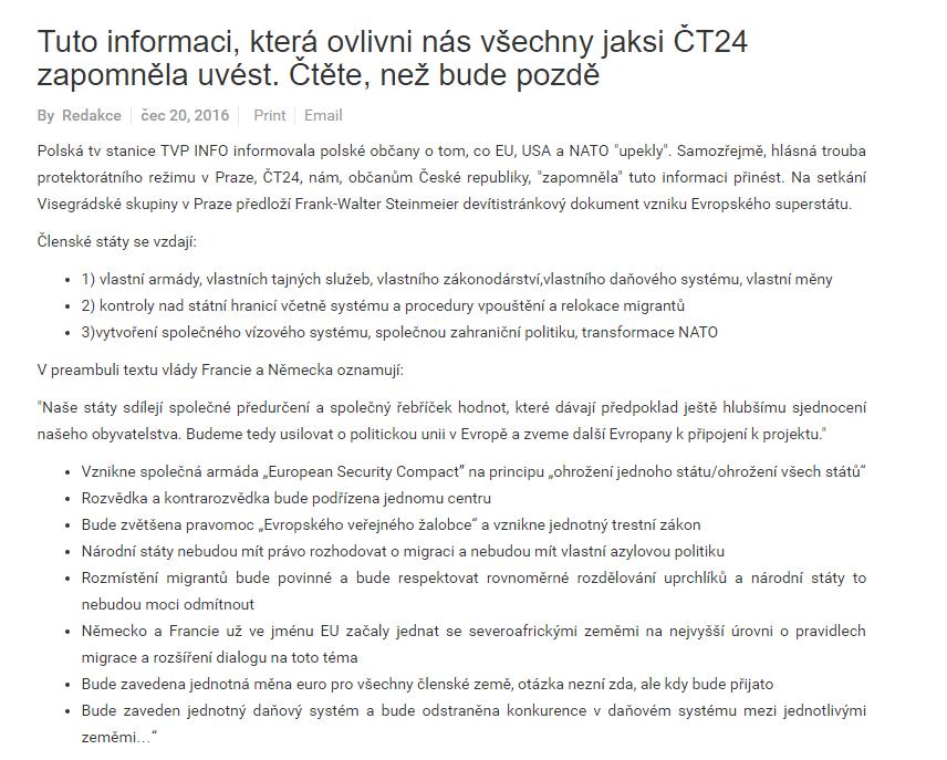 Tuto informaci která ovlivni nás všechny jaksi ČT24 zapomněla uvést. Čtěte než bude pozdě