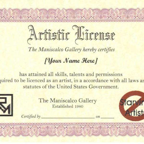 Artistic License Certificate