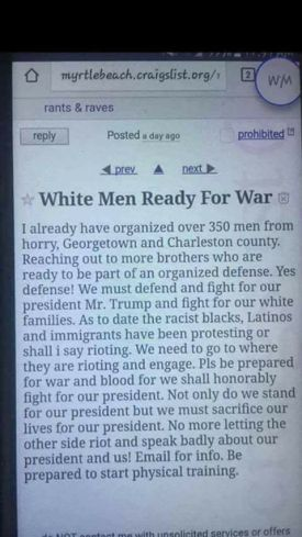 Craigslist white supremacist ad, inspired by Roof and the Alt Right