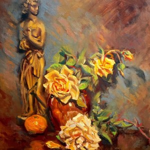 Yellow Roses with Statue