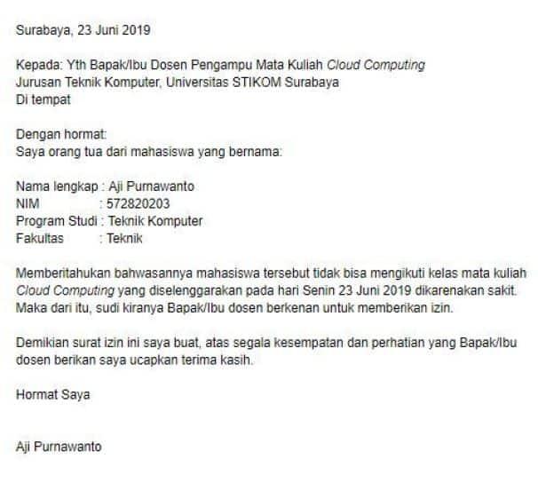 Surat Izin Kuliah Lewat Email