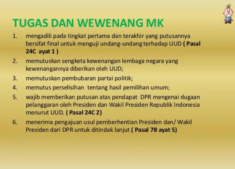 Tugas MK Atau Mahkamah Konstitusi