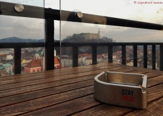 "Not sure about ""Stay true"" as a name, but it goes well with Ljubljana Castle. Taken from the terrace bar of Nebotičnik, The Skyscrapper."