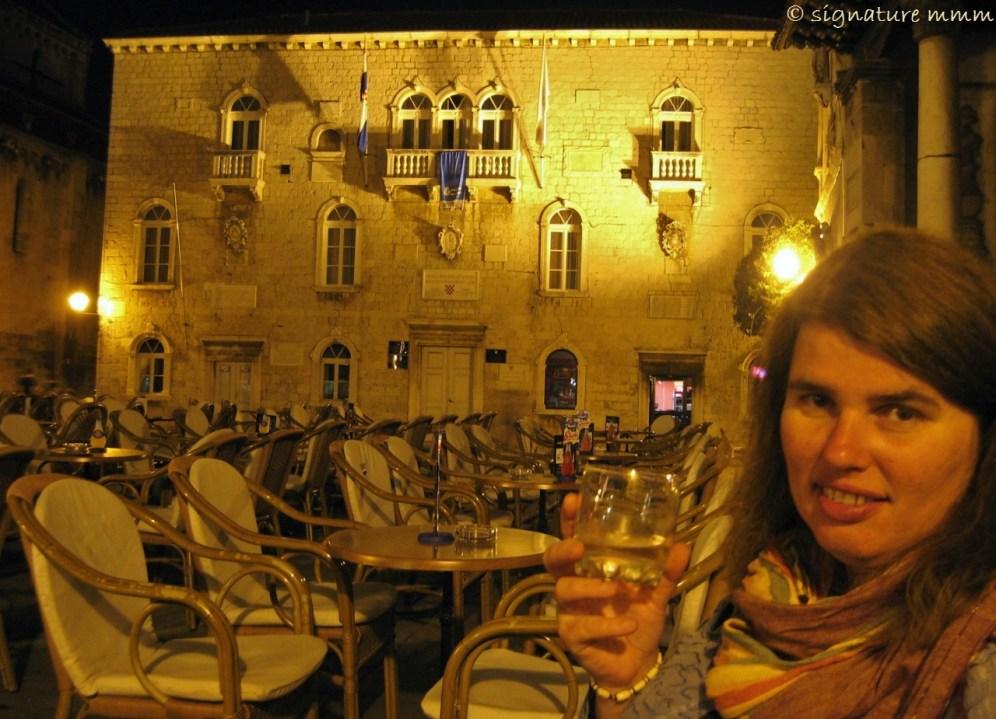 Alas, a true nation's daughter. Chivas in Trogir. Cin cin!