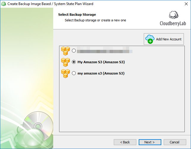 Backup windows image using cloudberry