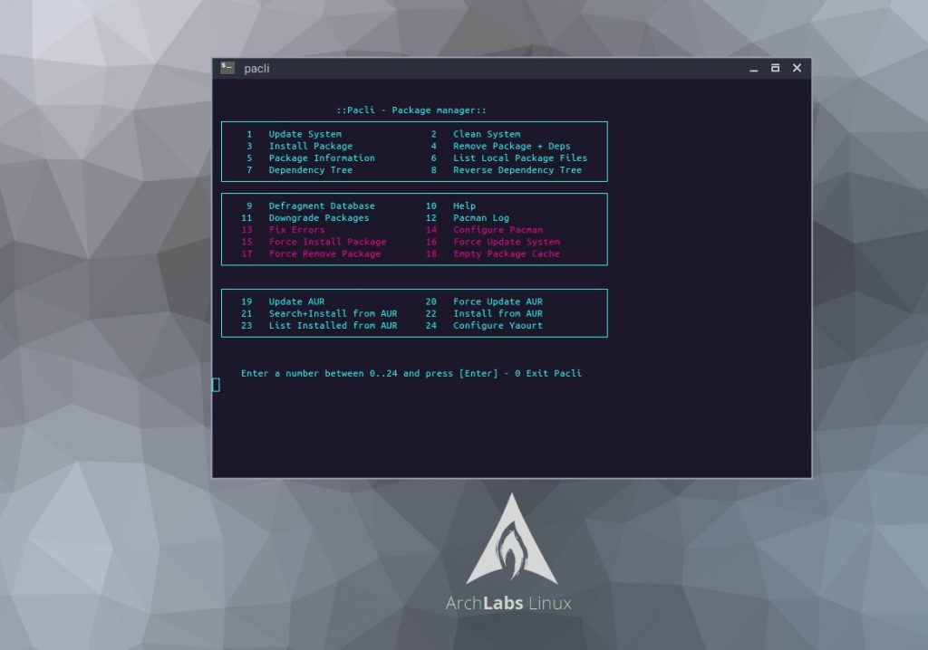ArchLabs 2017-12 package manager