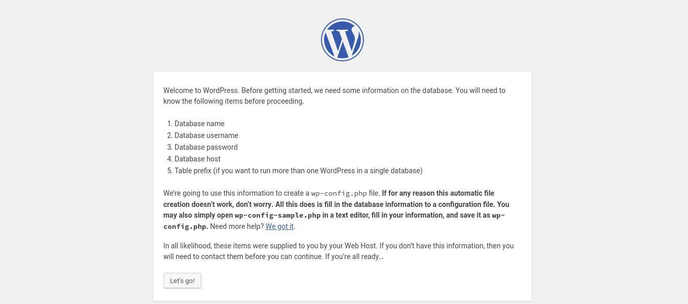 configure wordpress 1