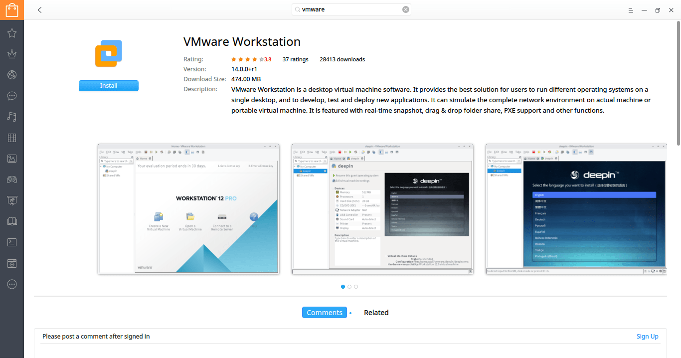install vmware workstation on deepin