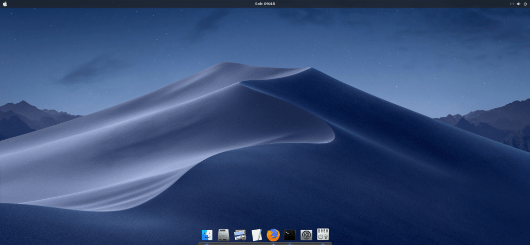 Ubuntu 18.10 with Mac OS X Mojave Theme