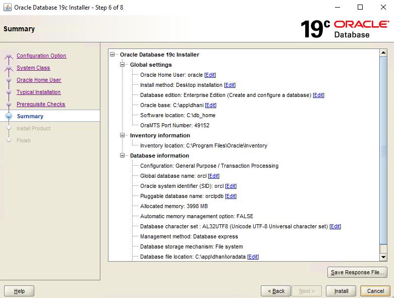 install oracle 19c on Windows 10 Pro