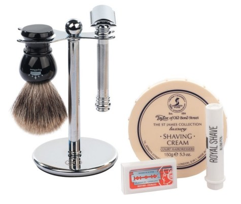 premium shaving kit with merkur de safety razor and 5 other pieces