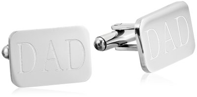 Men's Stainless Steel with Dad Engraved Cufflinks