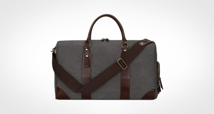 S-ZONE Canvas PU Leather Trim Travel Duffel bag