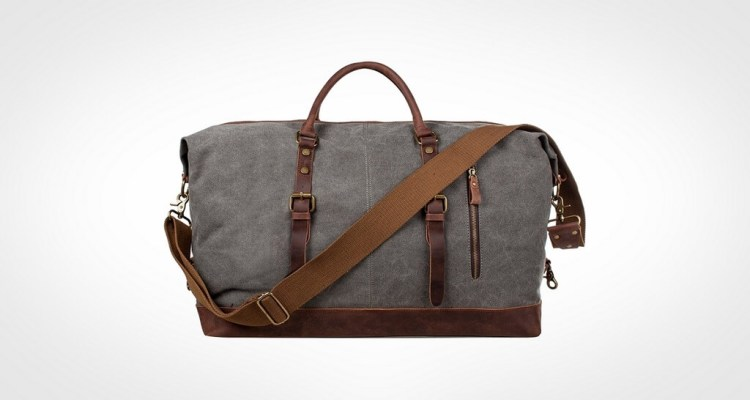 S-ZONE Oversized Canvas Genuine Leather duffel bag