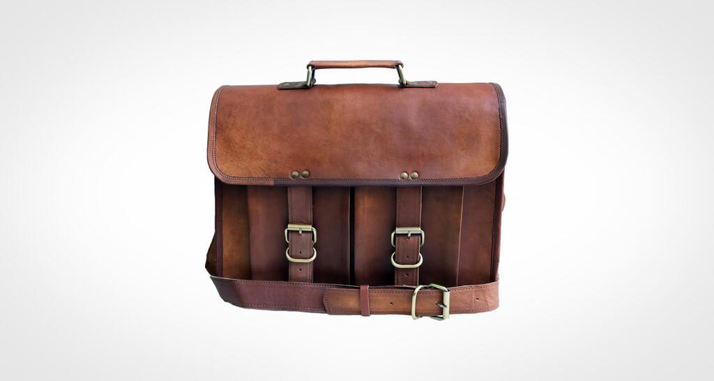 Jaald Genuine Leather Distressed Men's Laptop Messenger Bag
