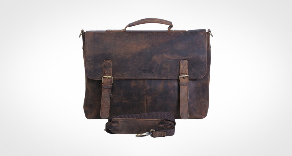 KomalC Retro Buffalo Hunter Leather Laptop Messenger Bag