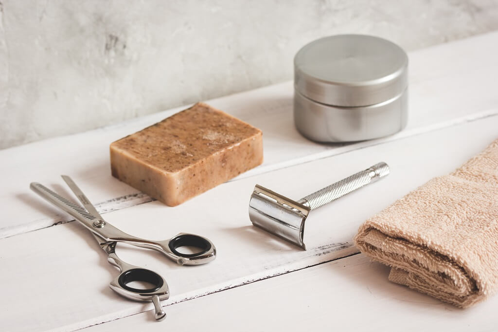 Safety razor - scissors and bar soap