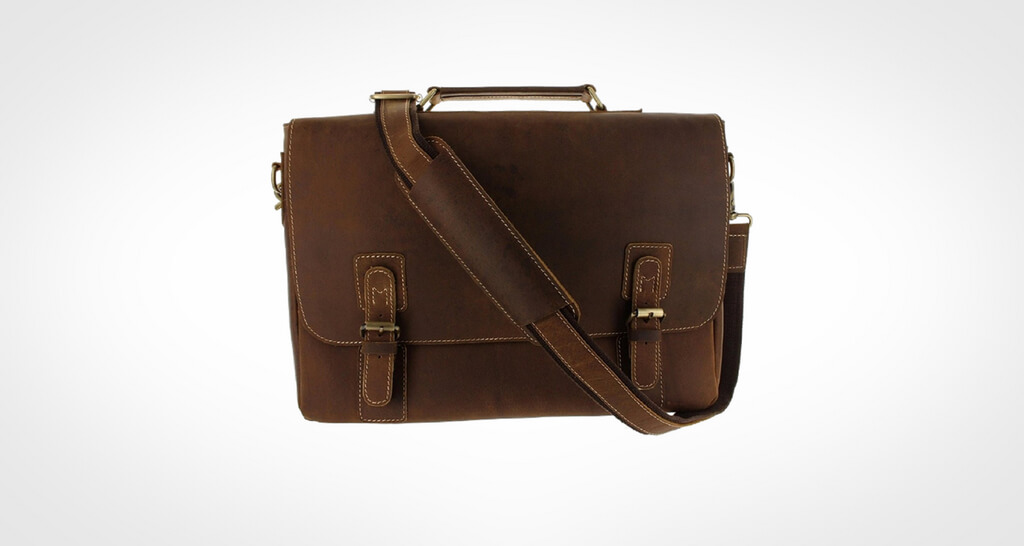 Viosi Mens RFID Leather Messenger Bag
